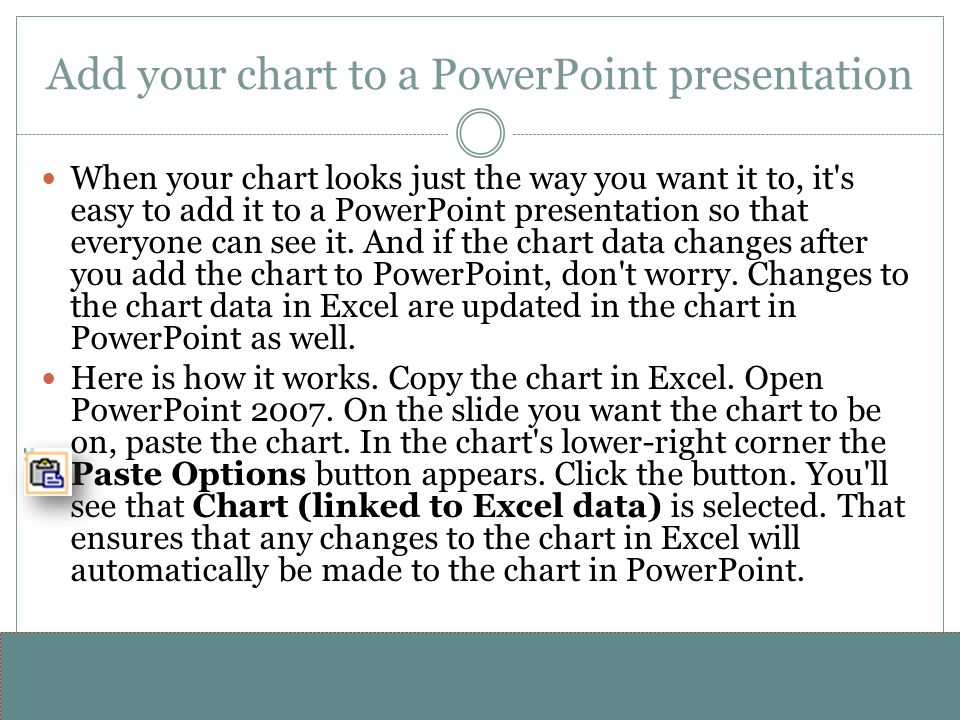 Add your chart to a PowerPoint presentation
