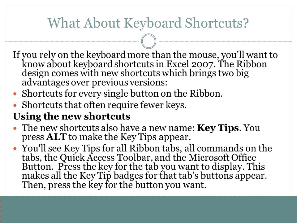 What About Keyboard Shortcuts