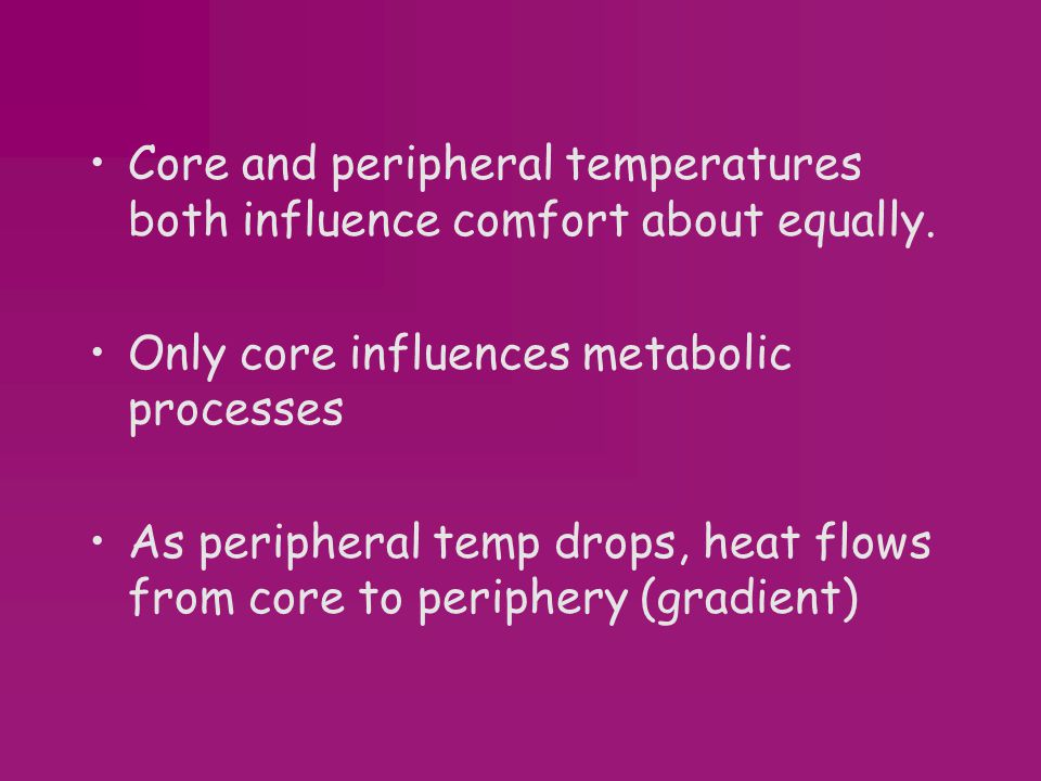 Core and peripheral temperatures both influence comfort about equally.