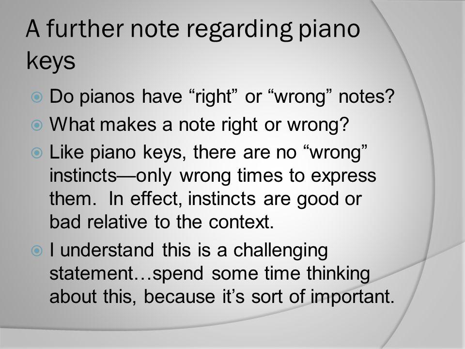 A further note regarding piano keys