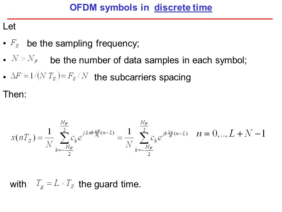OFDM symbols in discrete time