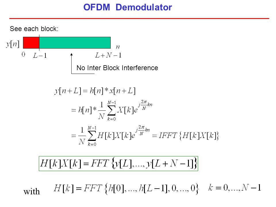OFDM Demodulator See each block: No Inter Block Interference with