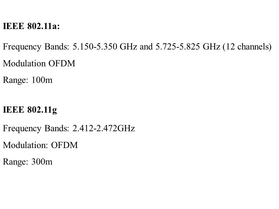 IEEE 802.11a: Frequency Bands: 5.150-5.350 GHz and 5.725-5.825 GHz (12 channels) Modulation OFDM. Range: 100m.