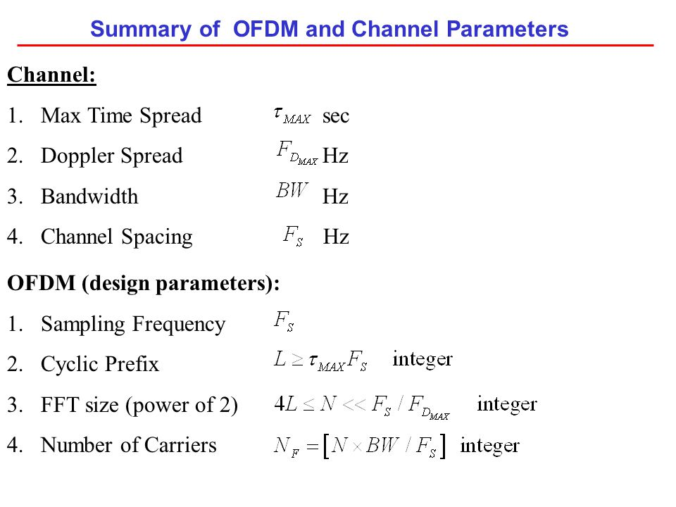 Summary of OFDM and Channel Parameters