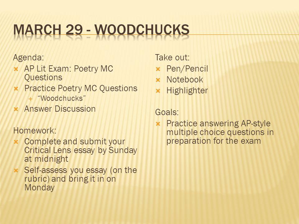 March 29 Woodchucks Agenda AP Lit Exam Poetry MC Questions