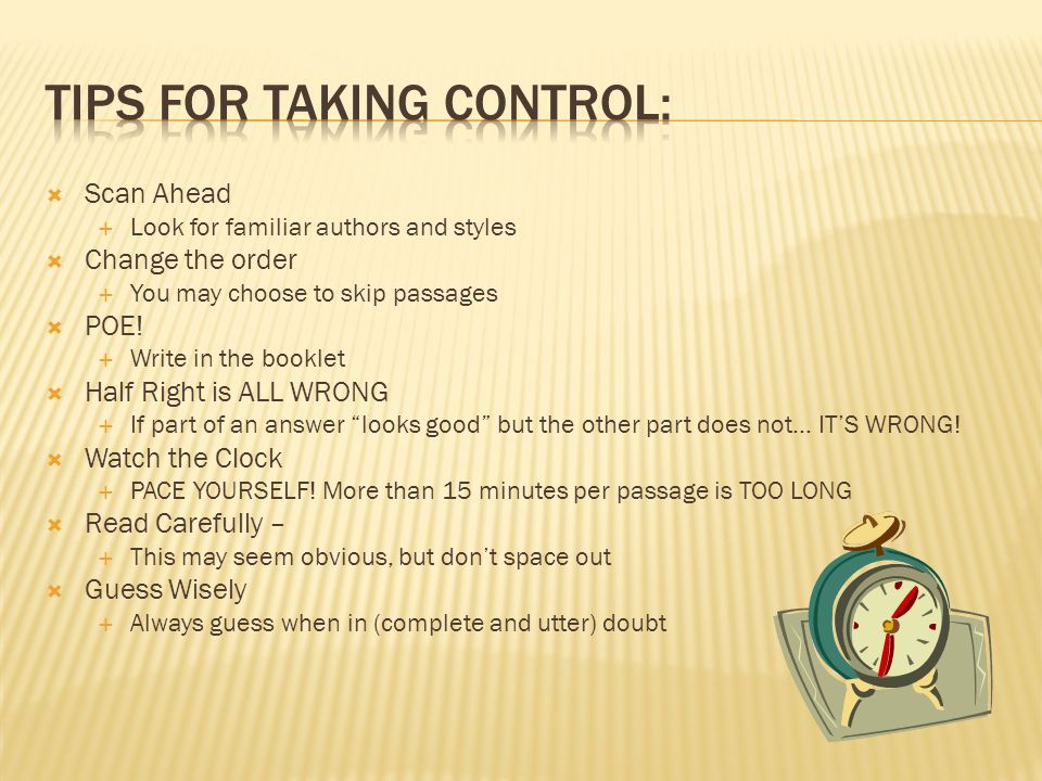 Tips for Taking Control: