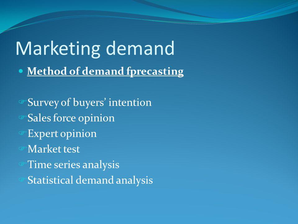 Marketing demand Method of demand fprecasting