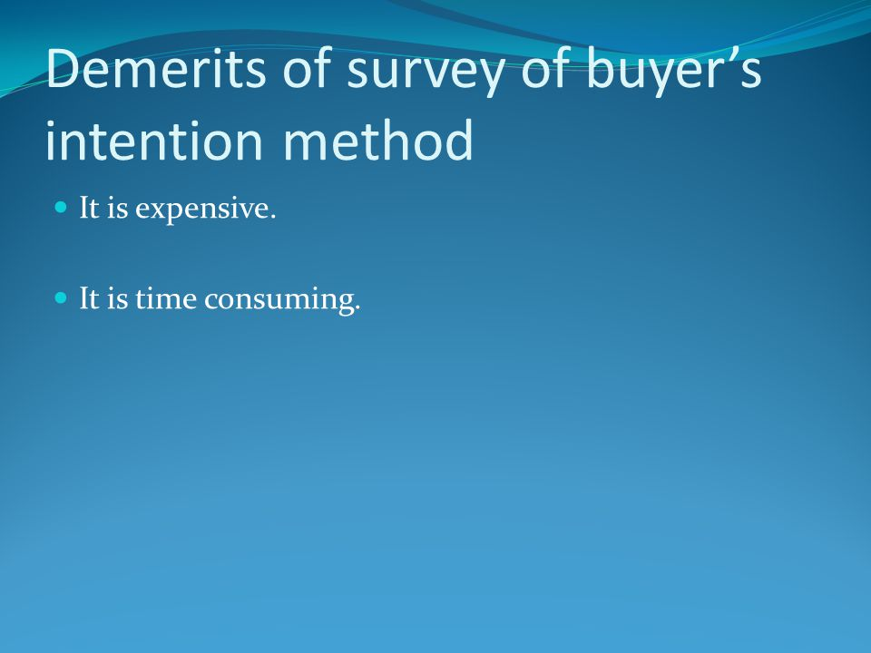 Demerits of survey of buyer's intention method