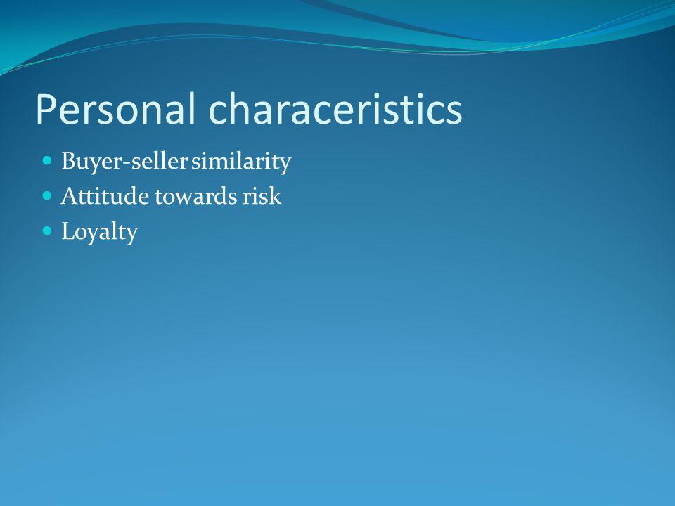 Personal characeristics