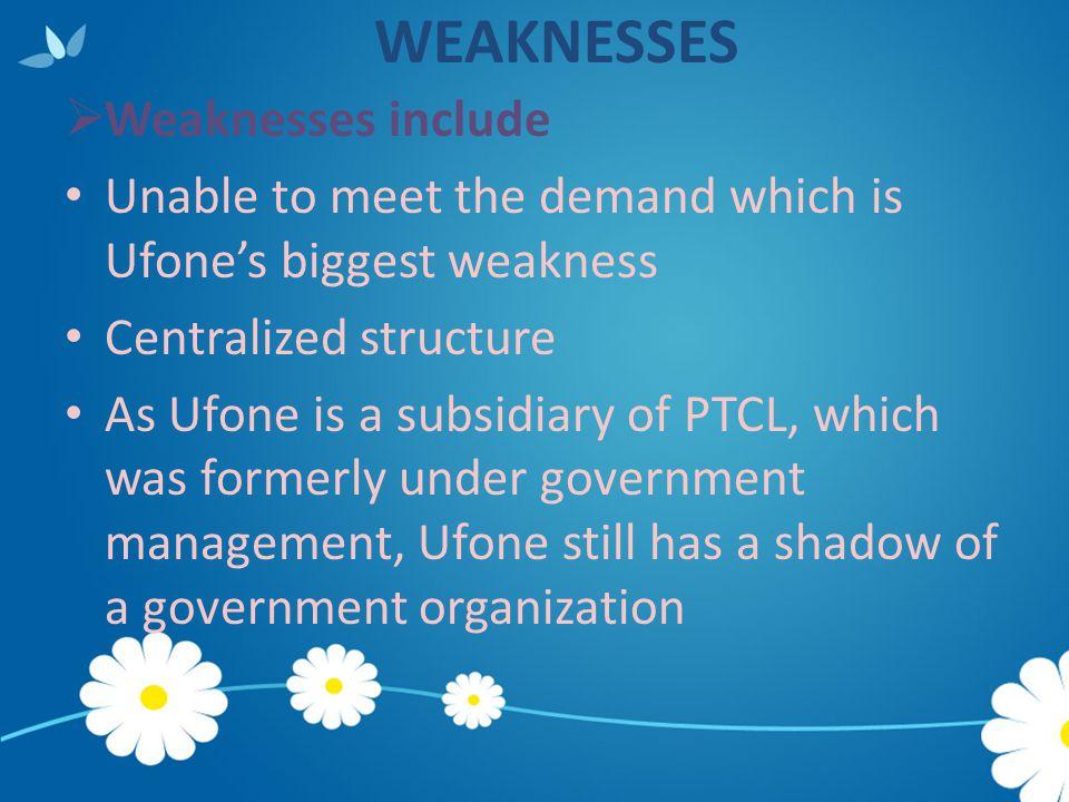 WEAKNESSES Weaknesses include