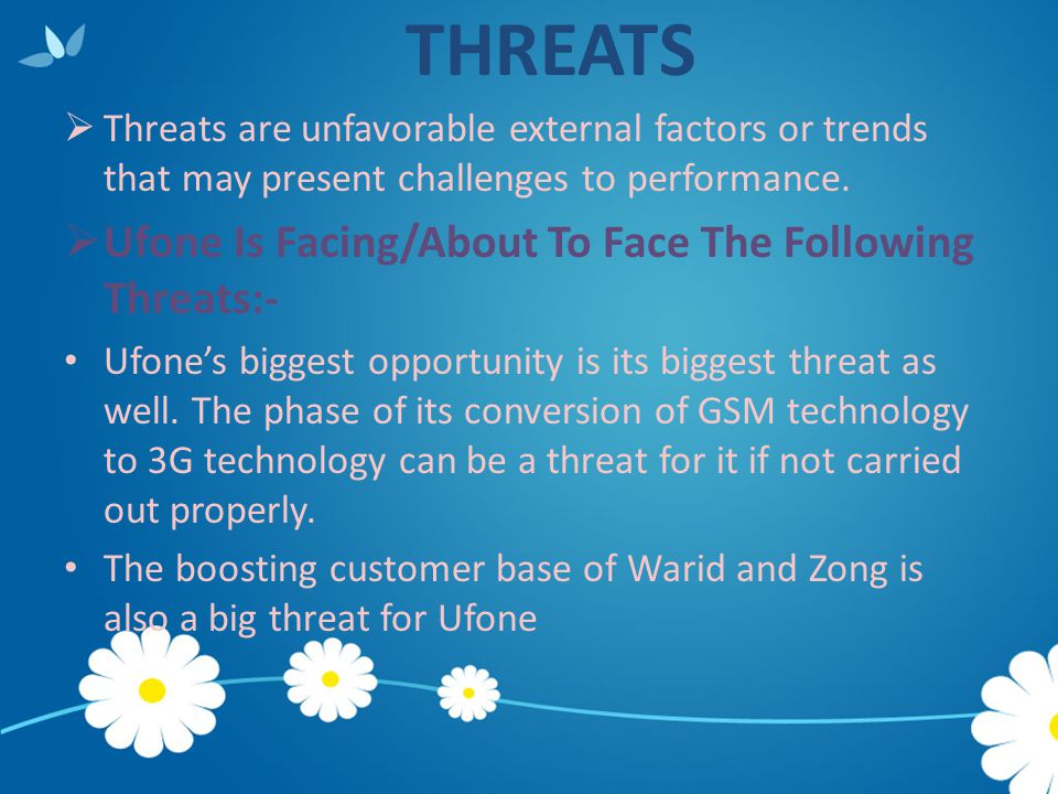 THREATS Ufone Is Facing/About To Face The Following Threats:-