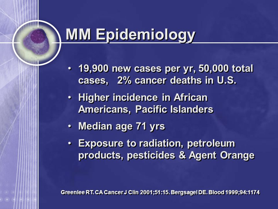 MM Epidemiology 19,900 new cases per yr, 50,000 total cases, 2% cancer deaths in U.S. Higher incidence in African Americans, Pacific Islanders.
