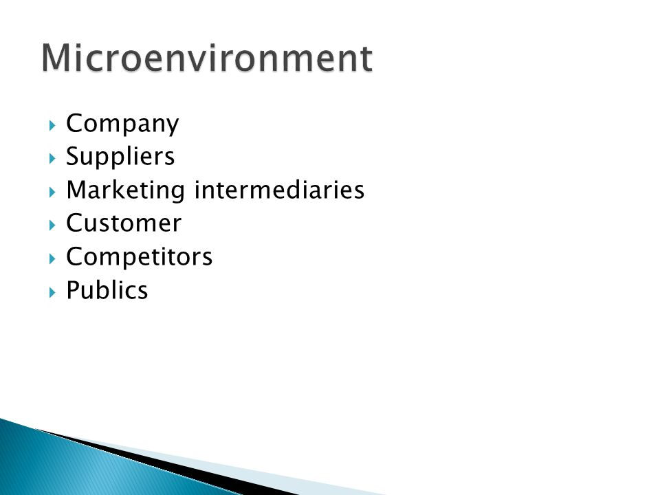 Microenvironment Company Suppliers Marketing intermediaries Customer