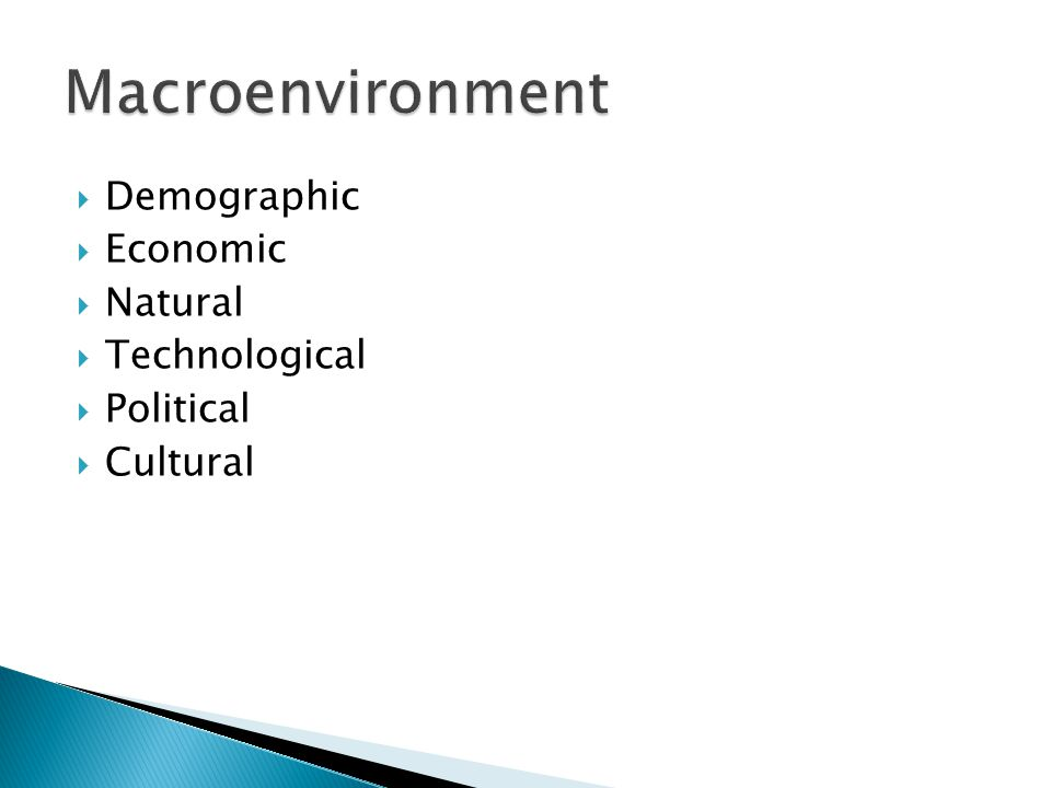 Macroenvironment Demographic Economic Natural Technological Political