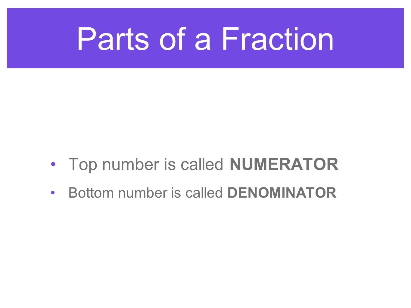 Parts of a Fraction Top number is called NUMERATOR