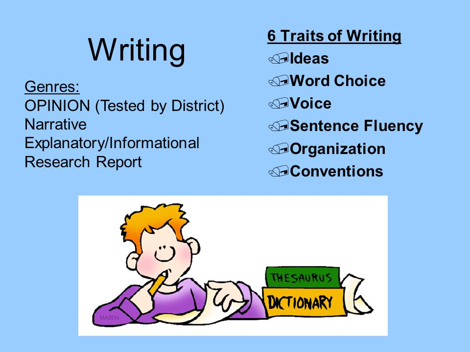 Writing 6 Traits of Writing Ideas Word Choice Voice Sentence Fluency