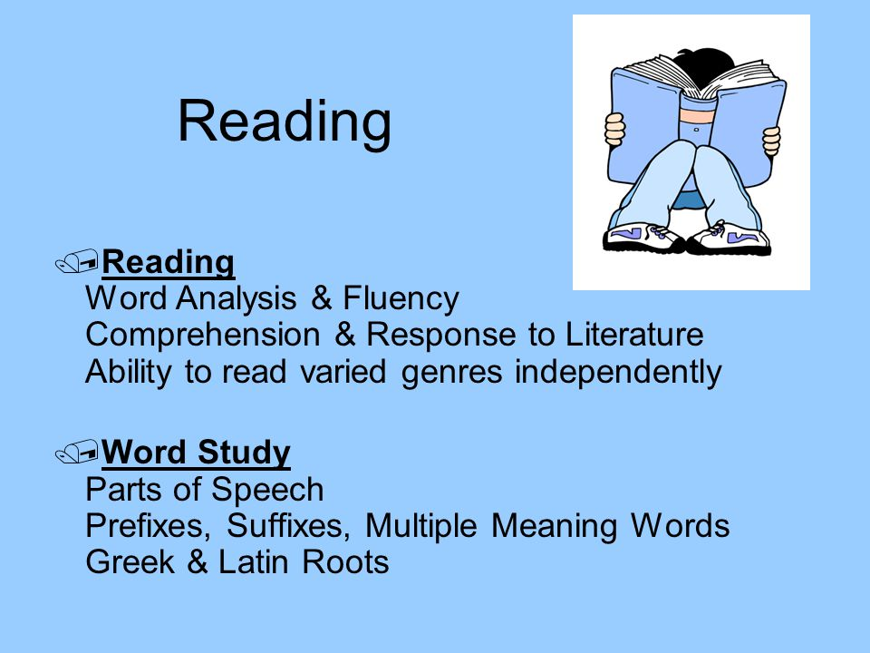 Reading Reading Word Analysis & Fluency Comprehension & Response to Literature Ability to read varied genres independently.