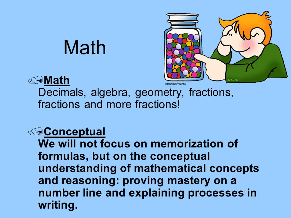 Math Math Decimals, algebra, geometry, fractions, fractions and more fractions!