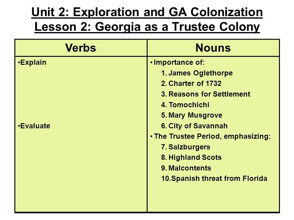 Unit 2: Exploration and GA Colonization Lesson 2: Georgia as a Trustee Colony