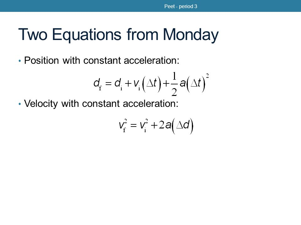 Two Equations from Monday