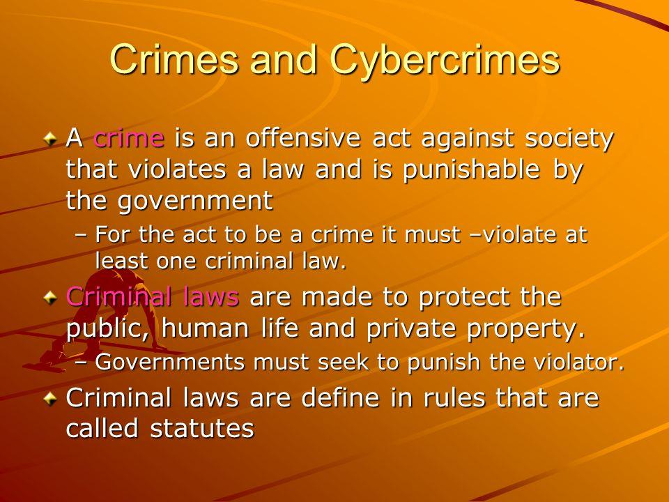 Crimes and Cybercrimes