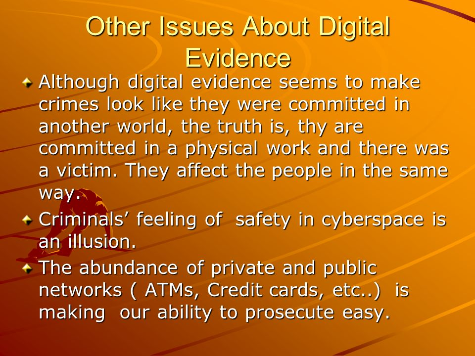 Other Issues About Digital Evidence