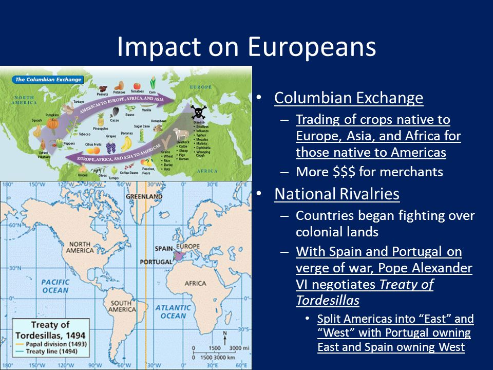 Impact on Europeans Columbian Exchange National Rivalries