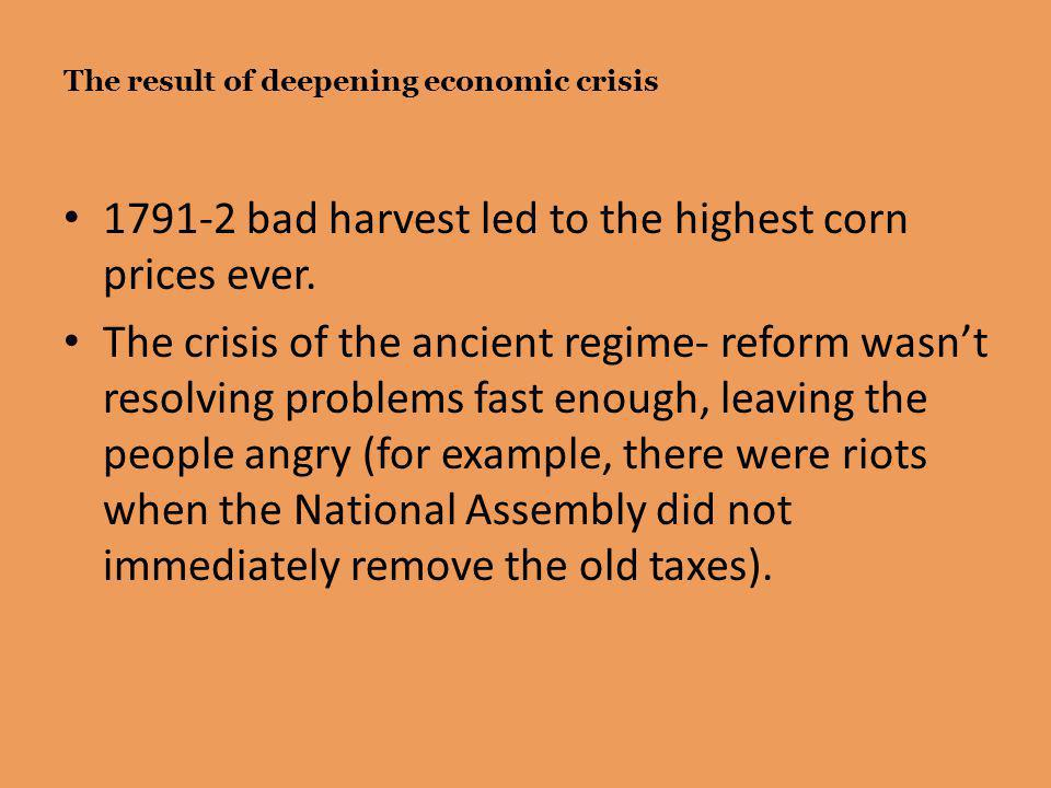 The result of deepening economic crisis