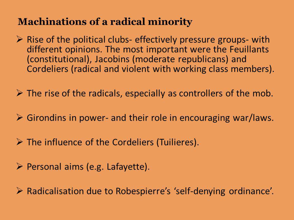 Machinations of a radical minority
