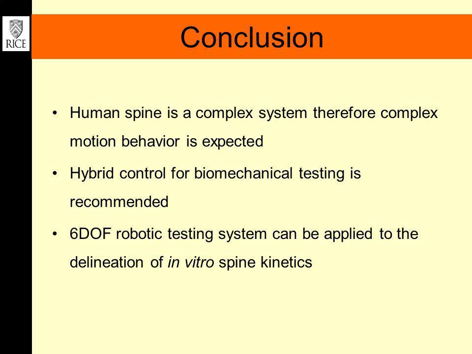 Conclusion Human spine is a complex system therefore complex motion behavior is expected. Hybrid control for biomechanical testing is recommended.