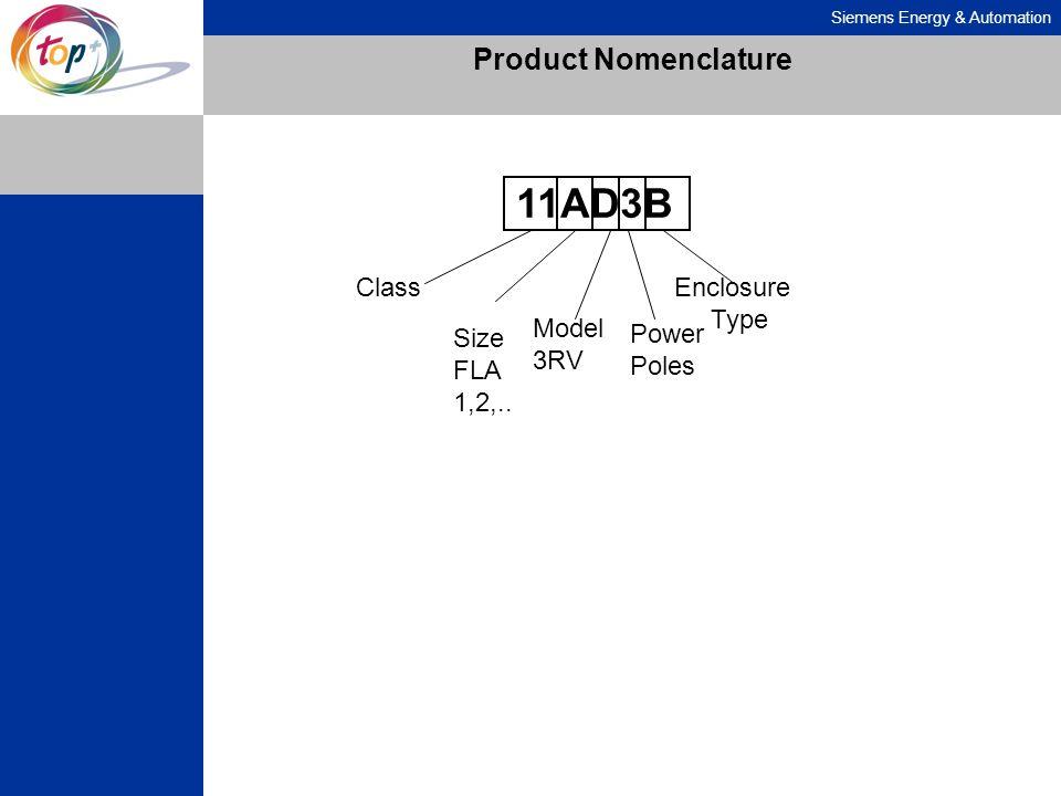 Product Nomenclature 11AD3B Class Enclosure Type Model 3RV Size FLA