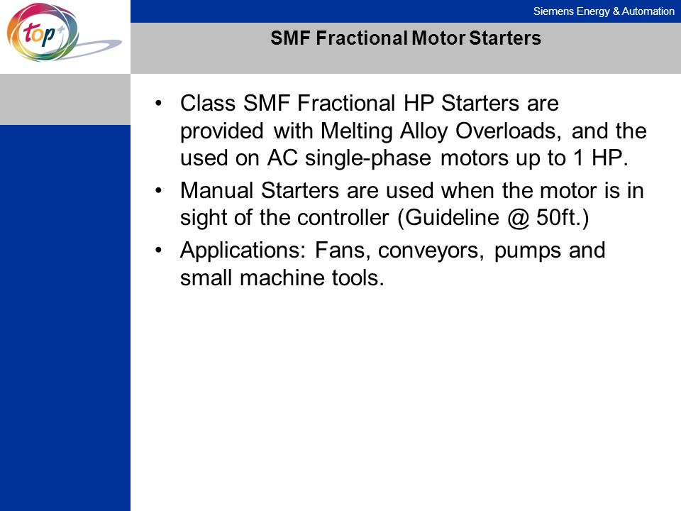 SMF Fractional Motor Starters