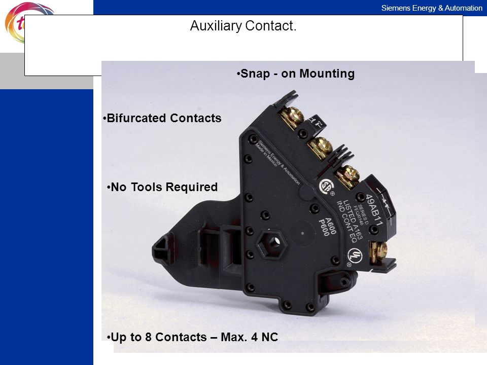 Auxiliary Contact. Snap - on Mounting Bifurcated Contacts