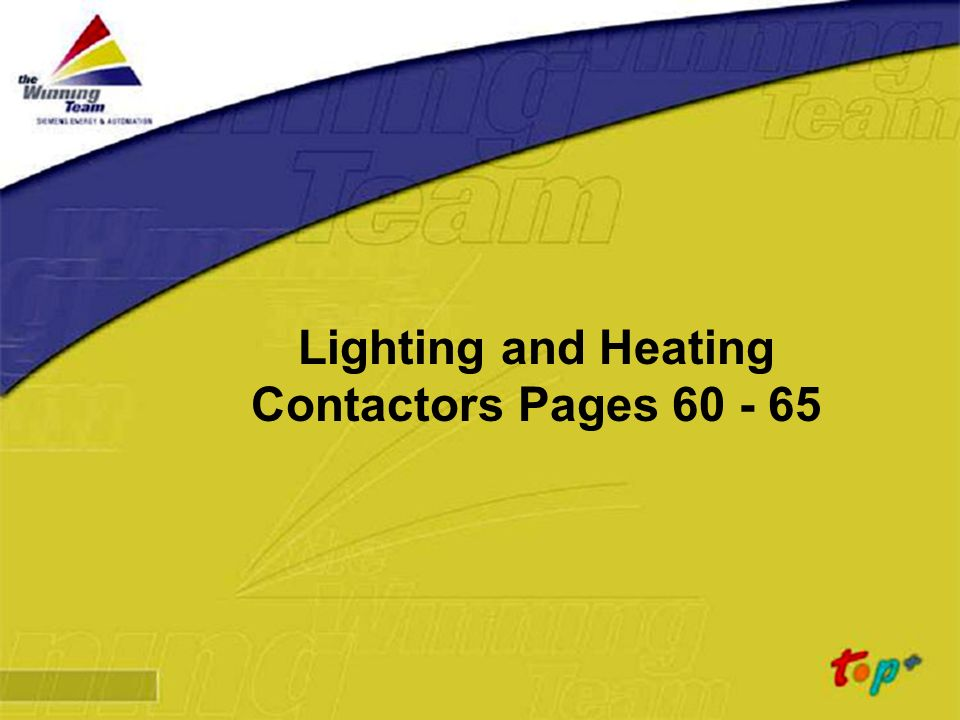 Lighting and Heating Contactors Pages 60 - 65