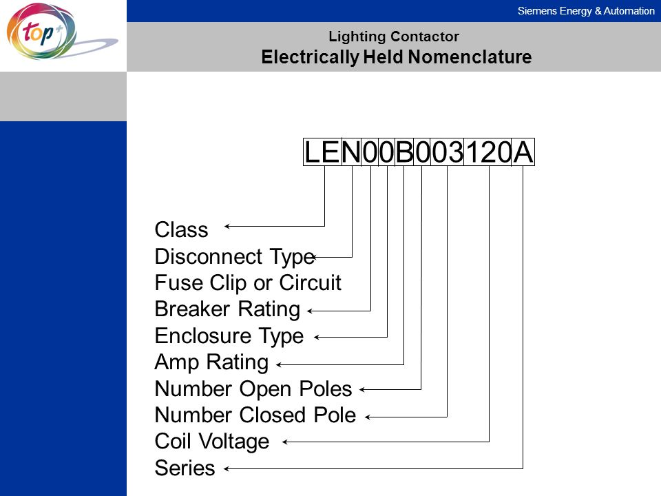 Lighting Contactor Electrically Held Nomenclature