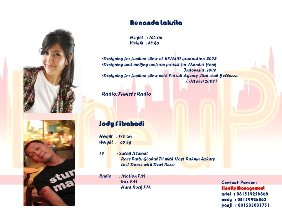 Renanda Laksita Jody Fitrahadi Radio: Famele Radio Height : 165 cm