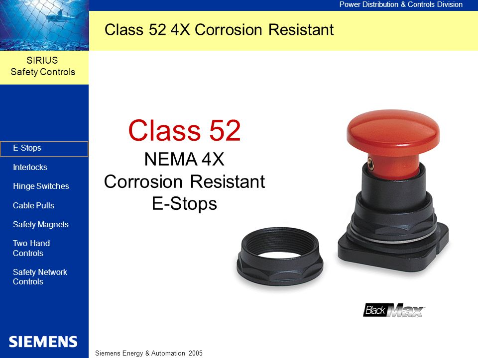Class 52 NEMA 4X Corrosion Resistant E-Stops