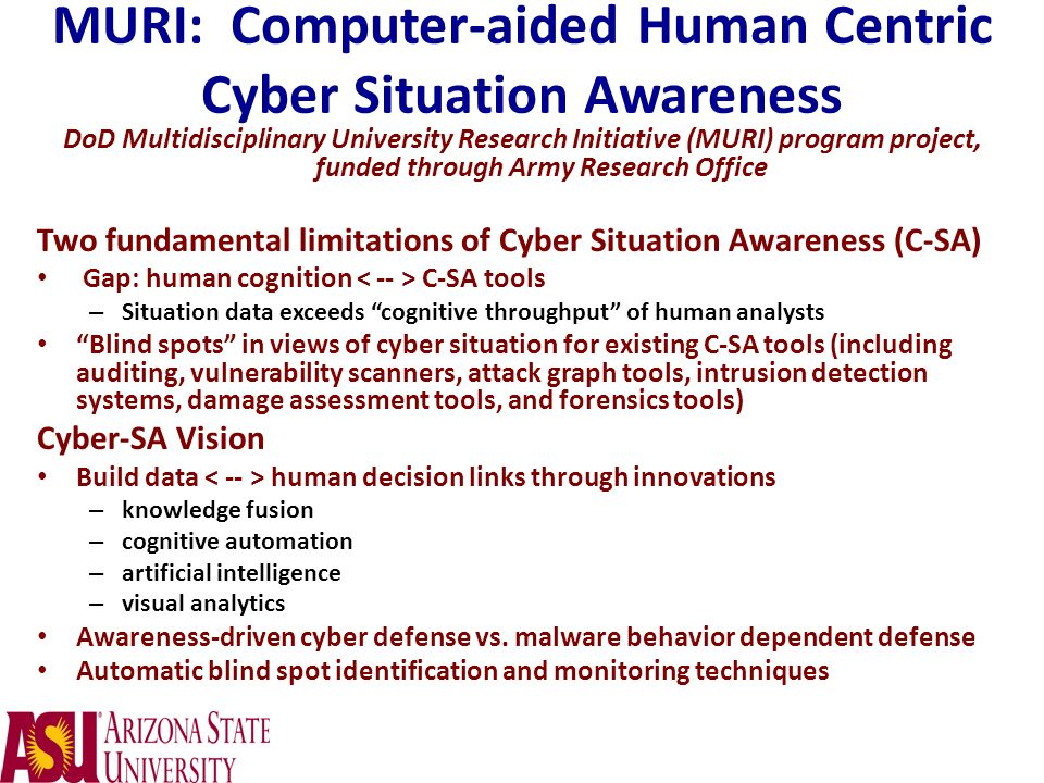 MURI: Computer-aided Human Centric Cyber Situation Awareness
