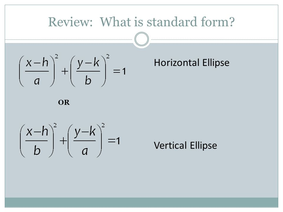 Review: What is standard form