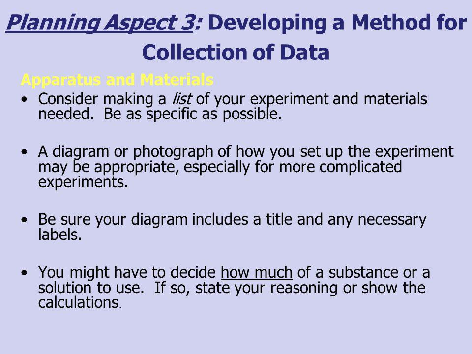 Planning Aspect 3: Developing a Method for Collection of Data