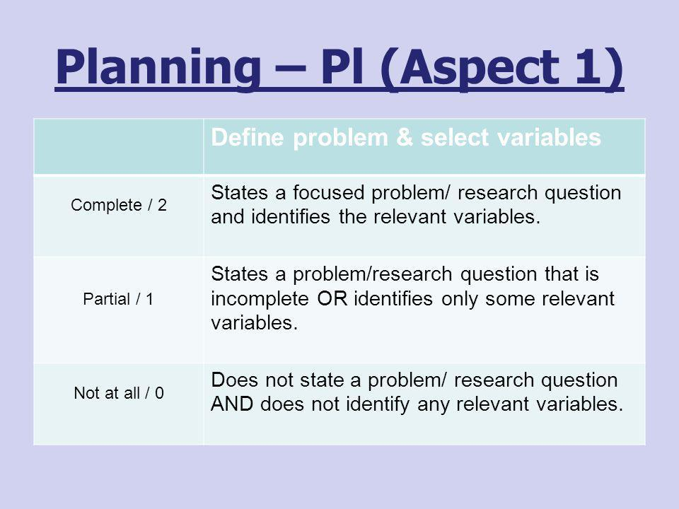 Planning – Pl (Aspect 1) Define problem & select variables