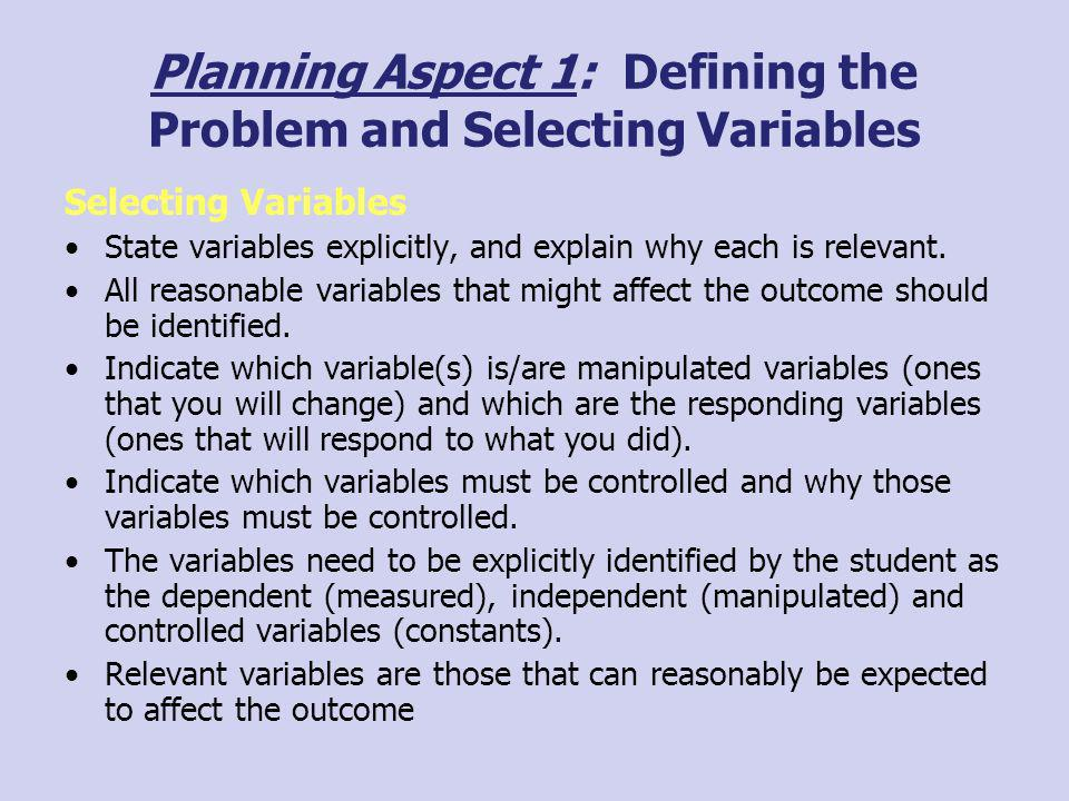 Planning Aspect 1: Defining the Problem and Selecting Variables