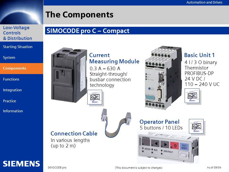 The Components SIMOCODE pro C – Compact Current Measuring Module