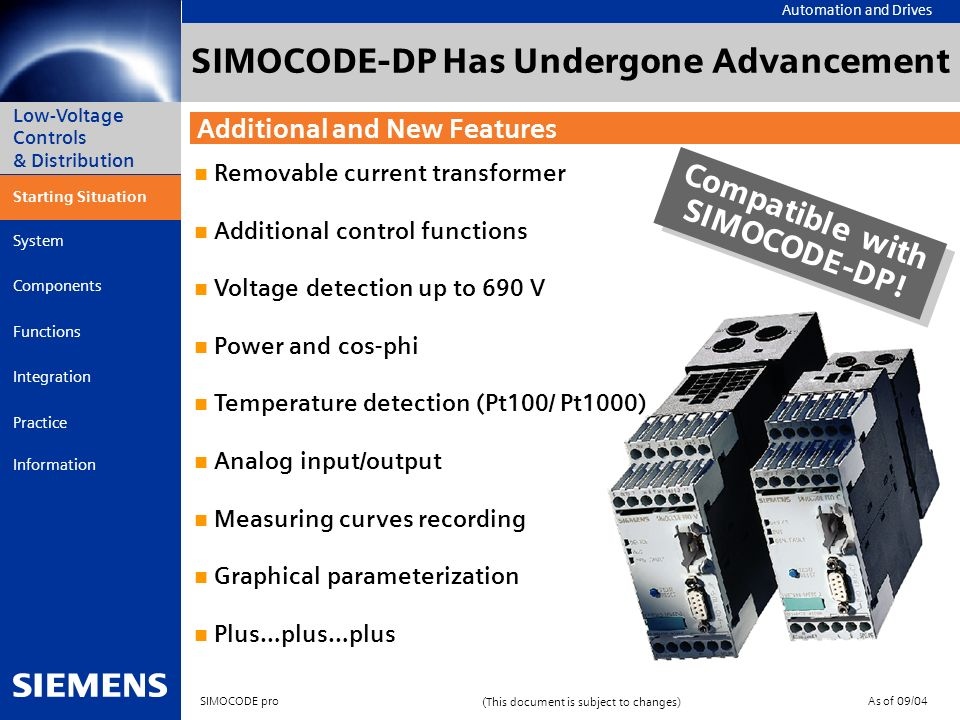 SIMOCODE-DP Has Undergone Advancement