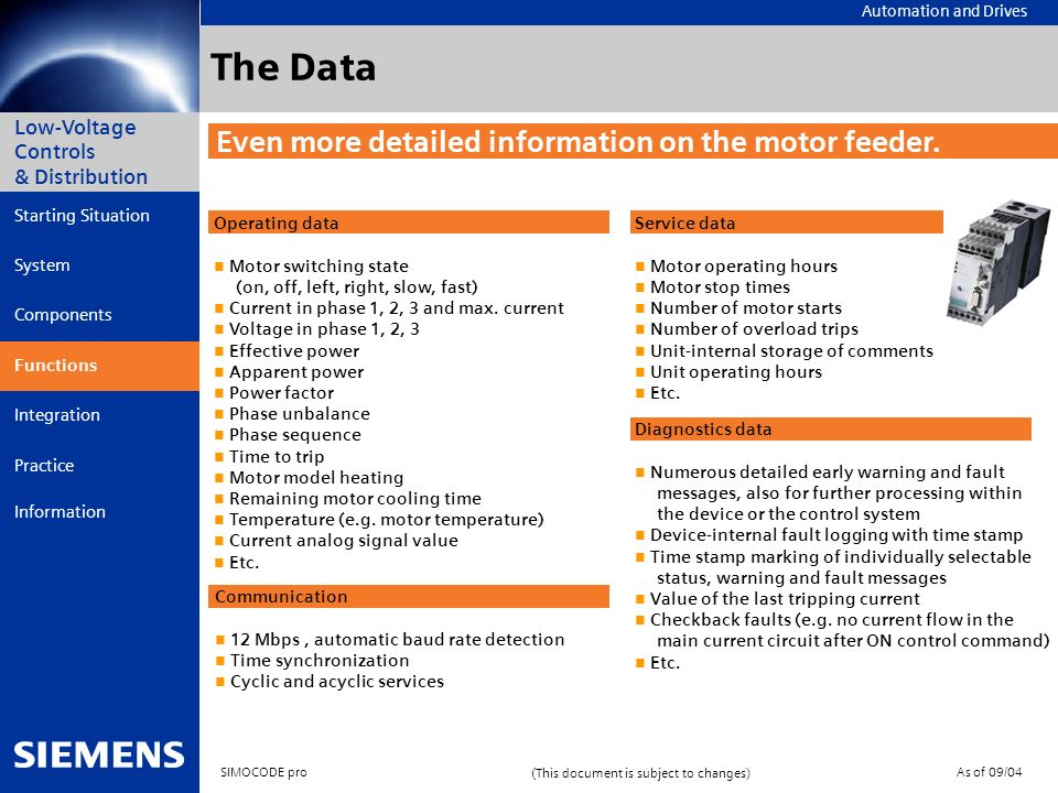 The Data Even more detailed information on the motor feeder. The data