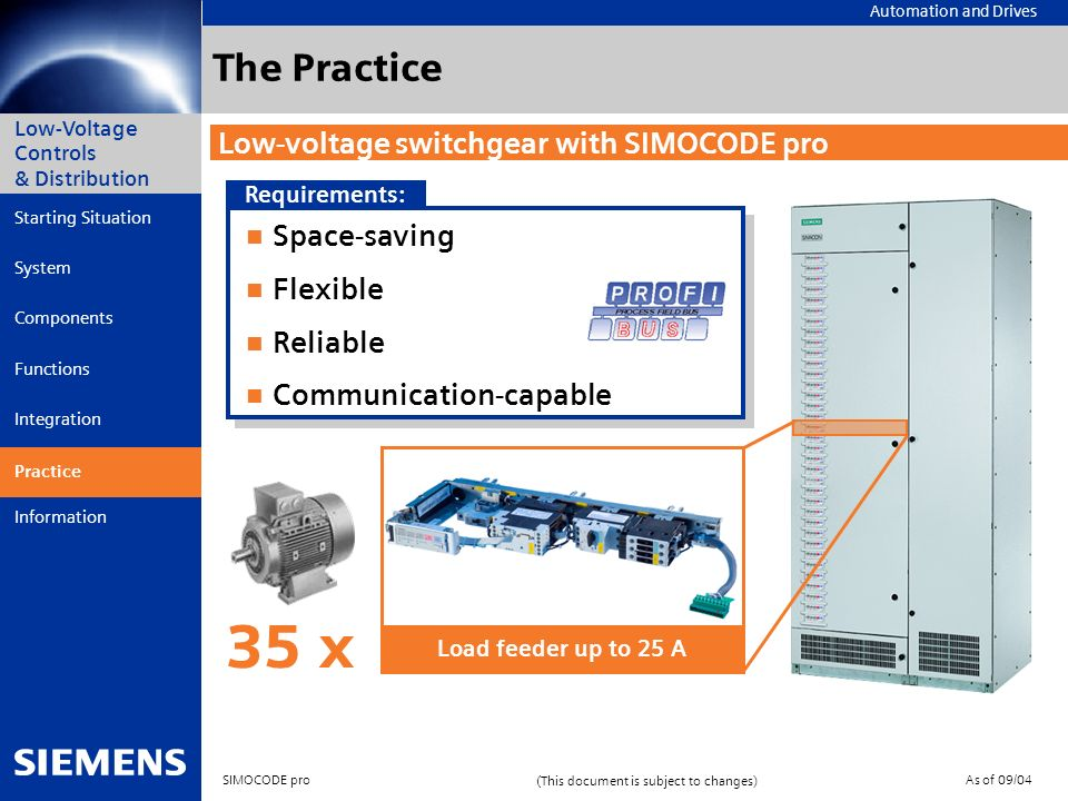 35 x The Practice Low-voltage switchgear with SIMOCODE pro