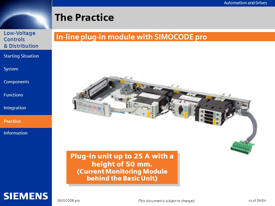 The Practice In-line plug-in module with SIMOCODE pro
