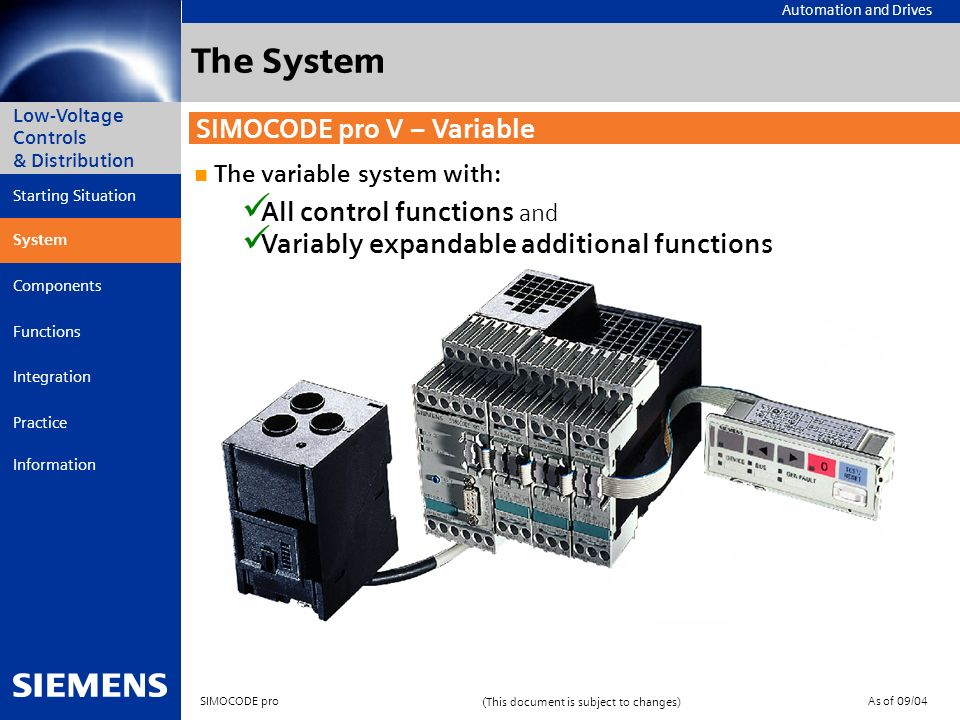 The System SIMOCODE pro V – Variable All control functions and