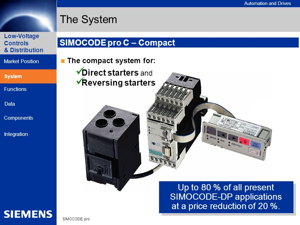 The System Up to 80 % of all present SIMOCODE-DP applications
