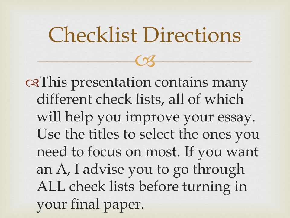 Checklist Directions